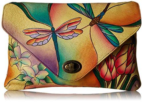 Anna by Anuschka Damen, Handpainted Leather Envelope, Dragonfly Glass Painting Clutch, Libelle Glasmalerei, Einheitsgröße