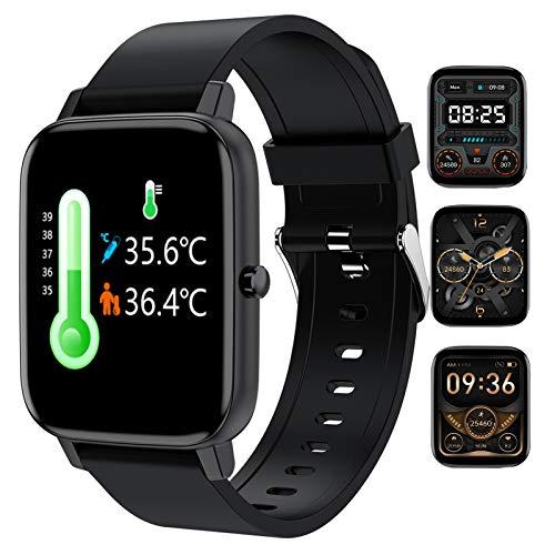 FMSBSC Smartwatch Hombre Mujer Reloj Inteligente Medición de Temperatura Corporal, Datos Deportivos, Pulsómetros, Monitoreo de calorías/Sueño/Presión Arterial, Pulsera Actividad Inteligente,Negro