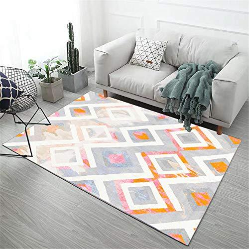 Comedor Camas Modernas Alfombra de Sala Gris Naranja rectángulo Moderno Suave y Resistente a Las Manchas alfombras Salon 140X200CM 4ft 7.1' X6ft 6.7'