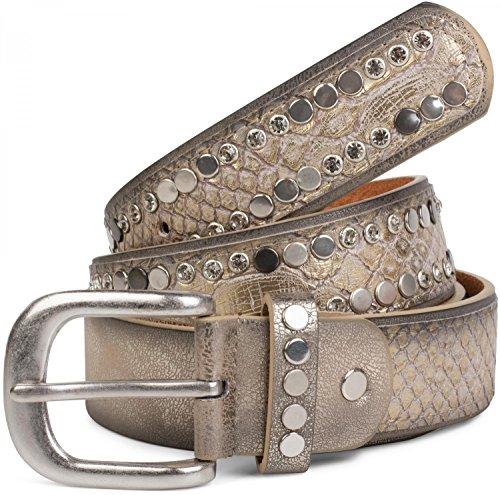 styleBREAKER riem met platte studs en strass steentjes, slangenleer-look, decoratieve stiksels, vintage stijl, kan worden ingekort, dames 03010064