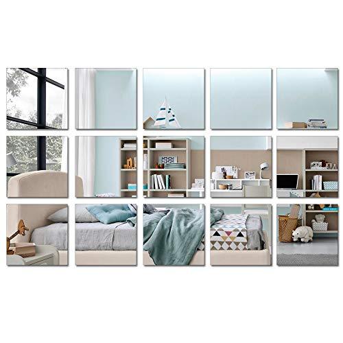 15 piezas cuadradas de acrílico espejo hoja de pegatinas de espejo plateado extraíble decoración de pared, pegatinas autoadhesivas de pared para cuarto de baño, sala de estar, dormitorio (15 x 15 cm)