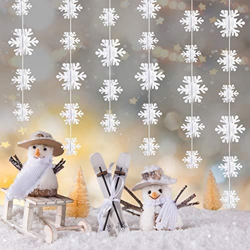 LAITER 3 stück Weihnachten Winter Girlande Schneeflocken Hängende 3 Meter 3D Winter Schneeflocken Deko zum Weihnachtsdeko Anhänger Fensterdeko Weihnachtsbaum