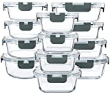 24 Pieces Glass Food Storage Containers with...