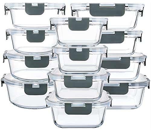 24 Pieces Glass Food Storage Containers with Upgraded Snap Locking LidsGlass Meal Prep Containers Set  Airtight Lunch Containers Microwave Oven Freezer and Dishwasher