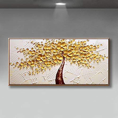 Handgeschilderd olieverfschilderij kunstwerk op canvas, grote witte en gouden dikke bloemen abstract landschap moderne bruiloftsdecoratie slaapkamer nachtwand hangen schilderijen Scandinavische horizontale versie voor thuiskantoor 100×200cm(40×80 inch)