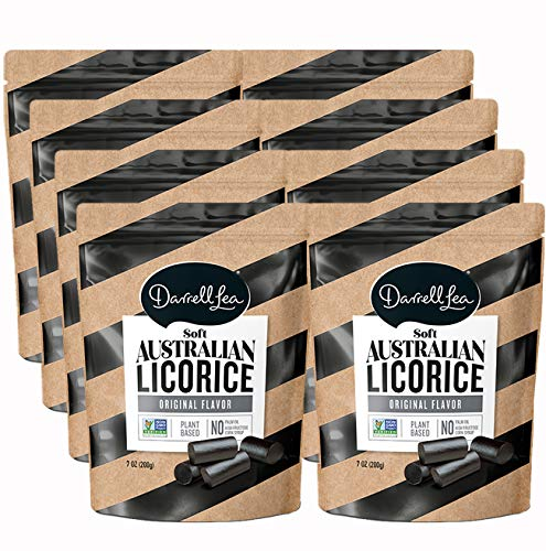 Darrell Lea Black Soft Australian Made Licorice (8) 7oz Bags - NON-GMO, PALM OIL FREE, NO HFCS, Vegetarian & Kosher | Made in Small Batches with Ethically-Sourced, Quality Ingredients