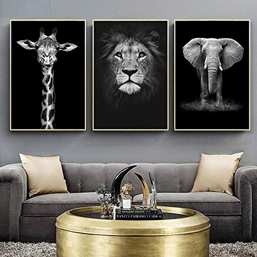 ZCFDXXH Elefant Löwe Giraffe im nordischen Stil Schwarz Weiß Tier Leinwand Malerei Kunstdruck Poster Bild Wand Wanddekoration-50x70cmx3 (kein Rahmen)