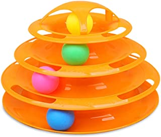 Mumoo Bear New Upgraded Tower of Tracks 4 Level Cat Tracks Interactive Ball Toy (Color Random)