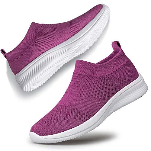 Slip-on Sock Sneakers Sneakers Women Walking Shoes Breathable Mesh Shoes Indoor Outdoor Purple 9.5
