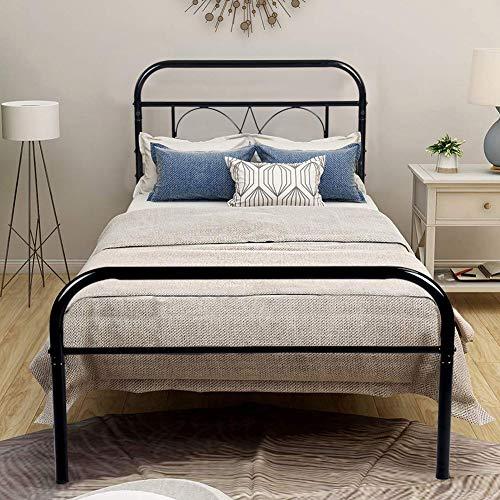 Aingoo Bettgestell 90x190 Metallbett Bettrahmen mit Lattenrost für Erwachsene Jugend Kinder ;Dieses Metall Bett passt ideal auf Matratze 90 x 190(Schwarz)