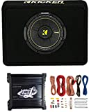 Kicker 40TCWS104 10' 600W 4 Ohm Complete Car Subwoofer Bass Package with Loaded Sub Enclosure, Lanzar 1000W Monoblock Amplifier, & 8 Gauge Wiring Kit