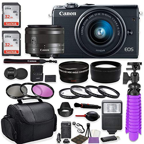 Canon EOS M100 Mirrorless Digital Camera (Black) Premium Accessory Bundle with Canon EF-M 15-45mm is STM Lens (Graphite) + Shoulder Case + 64GB Memory + HD Filters + Auxiliary Lenses
