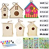 unfinished bird house - Aulufft Unfinished Wooden Bird Houses DIY Crafts Birdhouses, Unfinished Wood Bird House Kits Includes 6 Wood Bird Home and Watercolor Paints Set Crafts for Girls and Boys to Build & Paint