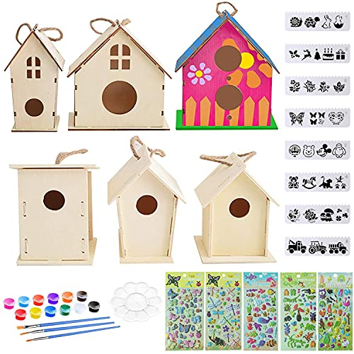 bird houses Aulufft Unfinished Wooden Bird Houses DIY Crafts Birdhouses, Unfinished Wood Bird House Kits Includes 6 Wood Bird Home and Watercolor Paints Set Crafts for Girls and Boys to Build & Paint