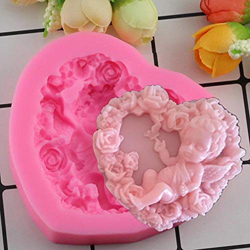 LNOFG Rose Angel 3D Silicone Mold DIY Resin Clay Mold Fudge Cake Decoration Tool Chocolate Candy Mold