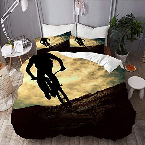PENGTU Bedding Juego de Funda de Edredón,Deporte Silueta de Hombre en Bicicleta de montaña Bicicleta de montaña Sunset de Muontain,Microfibra Funda de Nórdico y Fundas de Almohada - 140 x 200cm