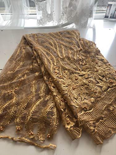 Afrikanischer Spitzenstoff, nigerianisch-französischer Perlen-Spitzenstoff, bestickt, für Hochzeiten, Feiern, Kleider, geschnürte Guipure K8, 274 cm gold