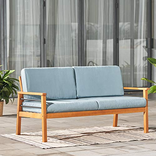 VIFAH Gloucester Contemporary Patio 2-Seater Sofa, Golden Oak Wood Color