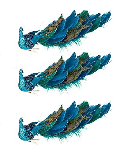 Weihnachtlicher Baumschmuck 11\'\' Pfau Weihnachtsbaum Vögel Dekoration Christmas Ornaments Realitätsnah Weihnachtsvögel zum Dekorieren AST Garten Hochzeit (3 Pack)