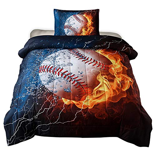 HTgroce 3D Sports Baseball Bedspreads for Boys, Kids and Teens Twin Size (68