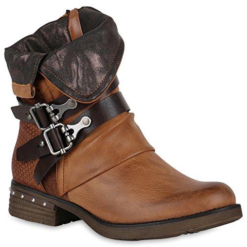 Leicht Gefütterte Damen Stiefel Biker Boots Schnallen Stiefeletten Schuhe 147600 Hellbraun 41 Flandell