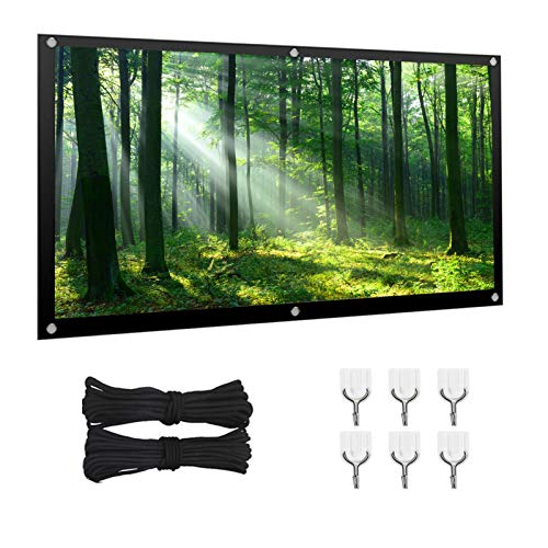 Projection Screen, 120 inches 16:9 4:3 HD Foldable 1080 Portable Projector Movie Screen, Used for Outdoor Indoor Support of Home Backyard Party Theater