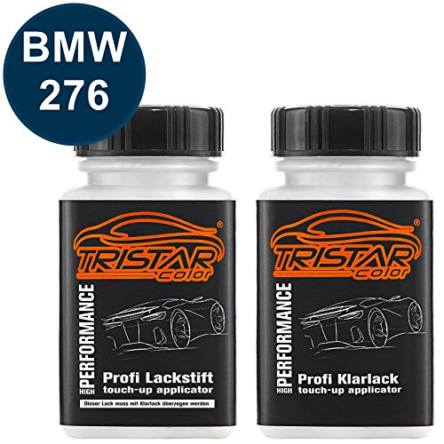 TRISTARcolor Autolack Lackstift Set für BMW 276 Avusblau Perl Basislack Klarlack je 50ml