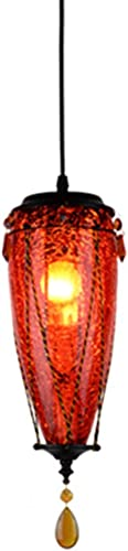 LRXHGOD Lustre balayant Or Verre rétro réglable Pendentif lumières Pendentif décoration pour Bar café allée Lampes,rouge