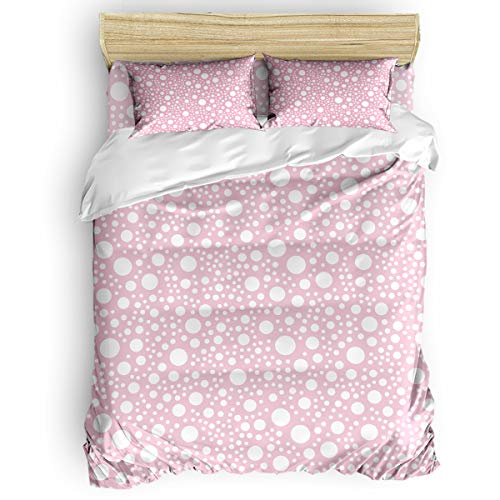 IDOWMAT 4 Pieces King Size Duvet Cover Set Luxury Microfiber Lightweight Bed Sets with Zipper Closure for Home Decor - Bedspread Comforter Cover and Pillowcases - White Wave Dot on Pink