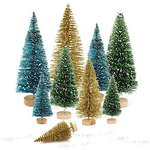 9 unidades de árbol de Navidad, mini árbol de Navidad, árbol de Navidad, miniárbol de Navidad, color verde, mini árbol de Navidad artificial, pequeño árbol de Navidad (oro, verde y azul)