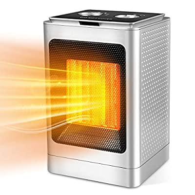 Zomma Space Heater, 1500W/750W PTC Electric Portable Heater with 3 Adjustable Modes, Over Heating & Tip-Over Safety Protection for Home, Office, Bedroom, Desk, Small Room, Indoor Use