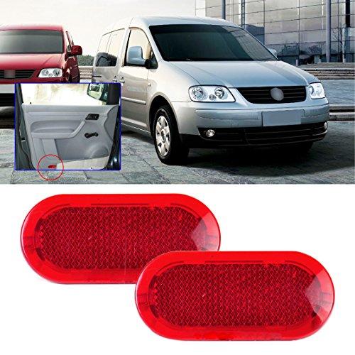beler 2X Rouge Panneau de Porte Rouge avertisseur Réflecteur de lumière 6Q0947419 adapté pour VW Beetle Caddy Polo