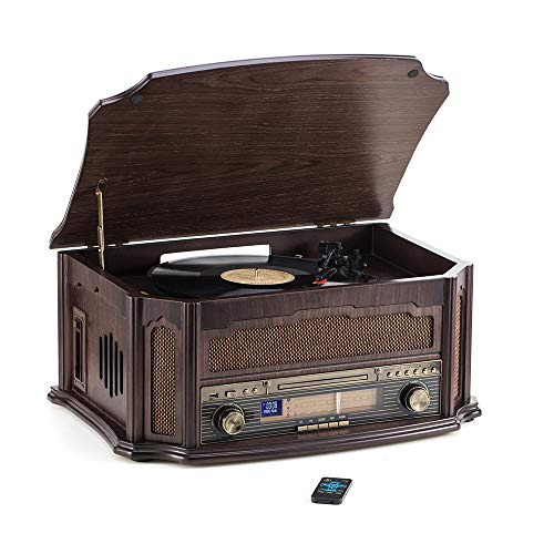 Rcm Classic Wooden Record Player with 3-Speed Vinyl Turntable, Wireless Connection, CD Player, FM Radio, Cassette Player, USB Play & Encoding, RCA Output, Include Remote Control (MC-268)