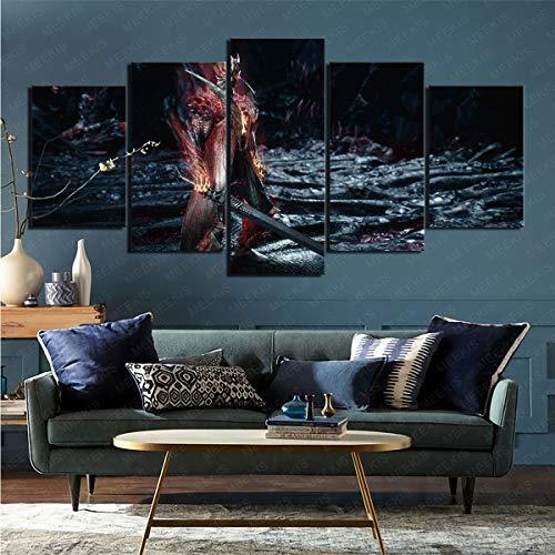 mmkow Cuadro enmarcado de 5 piezas de vídeo juego Devil May Cry 5 enmarcado arte decoración para el hogar dormitorio 80x150cm (enmarcado)