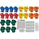 """Safe Kidz 22 Assorted Deluxe Rock Climbing Holds for Kids - Outdoor Climbing Stones Kit with 44 Swing Safe Fasteners + Drill Bit Easy to Install on Lumber from 3/4"""" to 1.25"""" Thick"""
