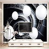 papel pintado pared 3d fotomurales Fleece Tela no tejida papel de pared moderno de decorativos murales pared 250x175cm Espacio abstracto moderno esfera escalera de caracol