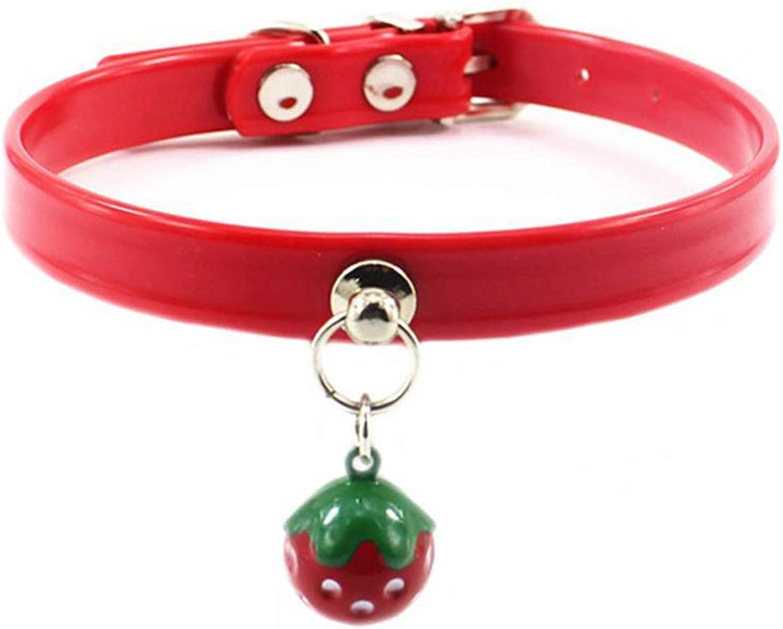 Dixinla Pet Collar PVC Strawberry Bell Waterproof Dog with cat tie