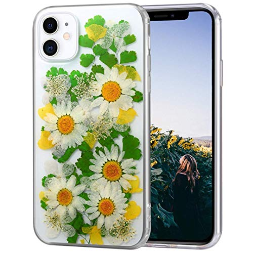 iPhone 13 Pro (6.1 inch) Case,Blingy's Pressed Dry Flower Real Flower Dried Flower Design Transparent Clear Soft TPU Protective Case Compatible for iPhone 13 Pro 6.1' (Green/Yellow Dry Flower)