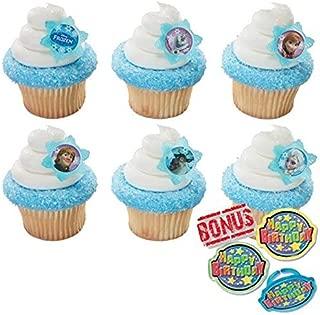 Disney Frozen Adventure Friends Cupcake Toppers and Bonus Birthday Ring - 25 piece