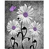 NIEMENGZHEN Druck auf Leinwand Lila Gelb Blau Grau Moderne Wand Gänseblümchen Kunst Blumen Schmetterling Leinwand Malerei Poster-60x90cm Kein Rahmen