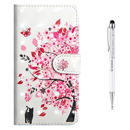 Preisvergleich Produktbild Grandoin Sony Xperia L1 Hülle,  Handyhülle im Brieftasche-Stil für Sony Xperia L1 Handytasche PU Leder Flip Cover 3D Bunte Muster Book Case Schutzhülle (Rosa Baum)