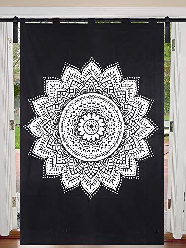 Janki Creation - Cortina de estilo bohemio, diseño de mandala psicodélica, color negro y blanco con flores, tamaño individual, 125 cm x 208 cm, estilo hippie, para puerta, decoración de ventana