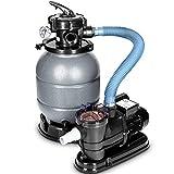 tillvex Depuradora Gris de Agua para Piscina 10 m³/h - 5 Funciones de Filtrado - Bomba de Filtro de Arena con Válvula