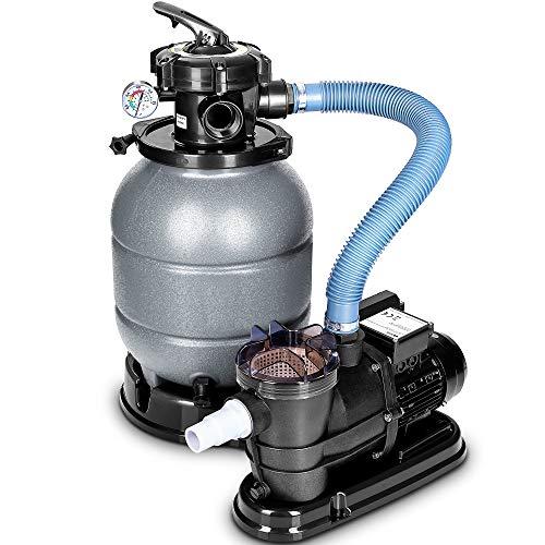 tillvex Sandfilteranlage 10 m³/h - Filteranlage 5-Wege Ventil | Poolfilter mit Druckanzeige | Sandfilter für Pool und Schwimmbecken (Grau)