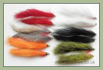 Gold Head Zonker Trout Flies, 12 Pack, Mixed Size 8/10, For Fly Fishing by Troutflies UK