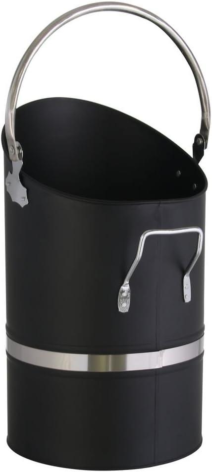 Kamino-Flam 122318 Cubo de Hierro asa y Mango Plegable, depósito de carbón Redondo para pellets, Negro, ca. 25 x 40 x 27 cm