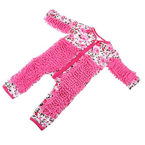 Homyl Mamelucos Baby Infant Mop Romper Limpieza para Suelo De Piso Swob Mono - Rosa roja, 90cm