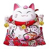 RandJ 6' Cute Maneki Neko Japanese Lucky Cat with Two Bells Piggy Bank Gift Desk Decoration (Head Flower)