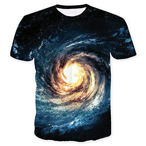 XIAOBAOZITXU T-Shirt Herren- Und Damenliebhaberkleidung Kurze Ärmel 3D-Digitaldruck Sternenförmiger Whirlpool Rundhalsausschnitt Lose Sportmode Großes T-Shirt XXXL
