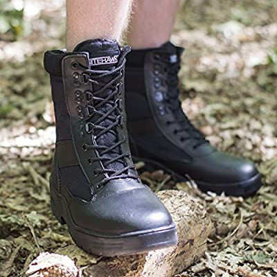 Nitehawk Army//Military Patrol Black Leather Combat Boots Outdoor Cadet Security